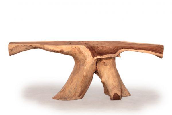 Baumscheiben Konsolen-tisch aus riesiger Suarholz-wurzel - front view