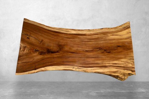 Baumstamm Tischplatte aus Suarholz mit ausgefallener Struktur - Länge 271 cm - front view1