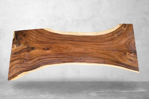 Baumstammtisch als Schreibtisch - Länge 296 cm - front view1