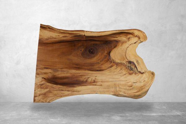 Baumstammtisch mit Naturschale aus Suarholz Länge - 223 cm - front view1