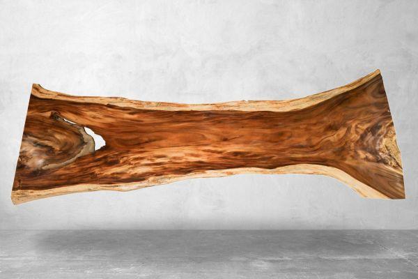 Baumstammtisch mit Wildkante XXL - Länge 460 cm - front view1