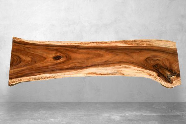 Baumstammtisch schlank 252 cm lang - front view1