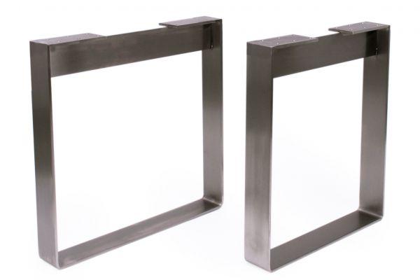 SOW Tischbeine Edelstahl Industrial Design für schwere Tischplatten 2er Set - front view1