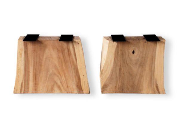 Holzwangen XXL aus Suarholz mit Naturkanten für Baumstammplatten - front view