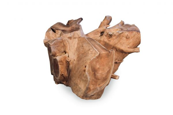 massiver Wurzel-Couchtisch aus Teak naturbelassen - view 1