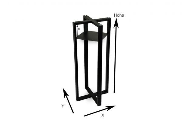 Tischuntergestell für Beistelltische und versteinertes Holz in Kreuzform mit oder ohne zwischen Regal nach Maß - XYZ Axis