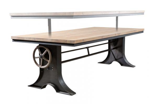 Tischgestell in Industriedesign aus Stahl - höhenverstellbar von 71 cm bis 107 cm - side view