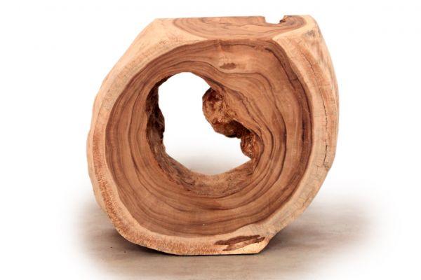 Konsole aus einer Baumscheibe als Raumteiler mit Naturkante - front view