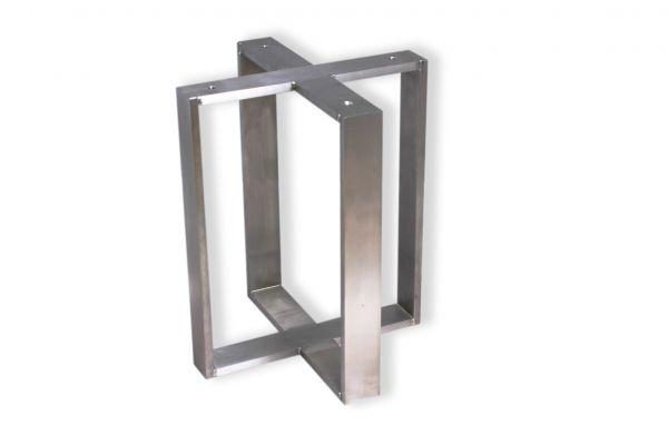 Edelstahl Tischuntergestell in Kreuzform - Beistelltische - nach Maß -SNK11- (50x10mm) - front view