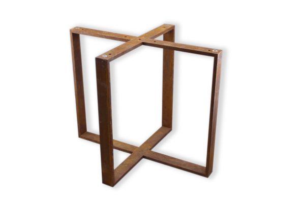 Rost Tischuntergestell in Kreuzform - Beistelltische - nach Maß -SNK14 (40x10mm) - profile view