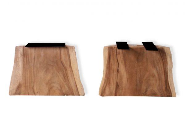 Massivholz Tischwangen aus einen Baumstamm mit außergewöhnlicher Maserung - 2er-Set - front view