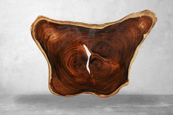 Baumstammplatte Esstisch mit Wildkante - 220 cm - front view1