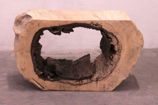 Konsole aus dem Querschnitt eines Baumes - front view1
