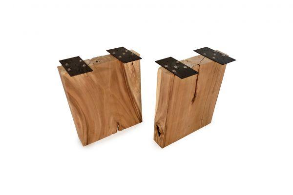 Massivholz Tischwangen rechteckige Form - 2er-Set - 70 cm breit - side view