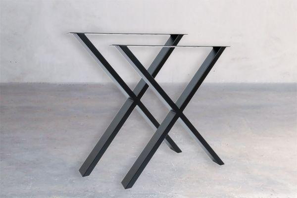 Rohstahl Tischuntergestell - Cross (2er Set) - front view1
