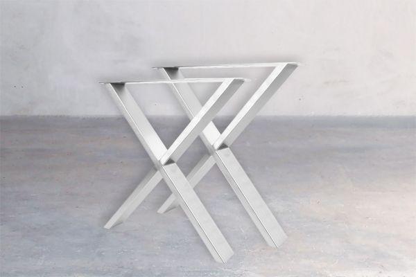 Tischuntergestell Edelstahl - Cross (2er Set) - front view1