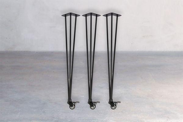 Stahl-Tischuntergestell - Hairpin Rolls (3er Set) - front view1