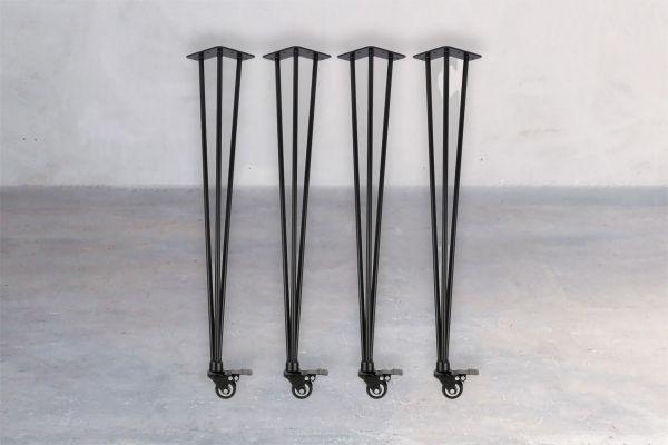 Stahl-Tischuntergestell - Hairpin Rolls (4er Set) - front view1