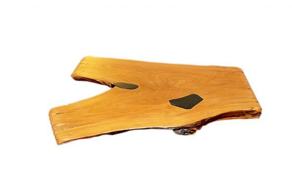 Teakholzplatte mit Kunsthartz für einen Beistelltisch - side view