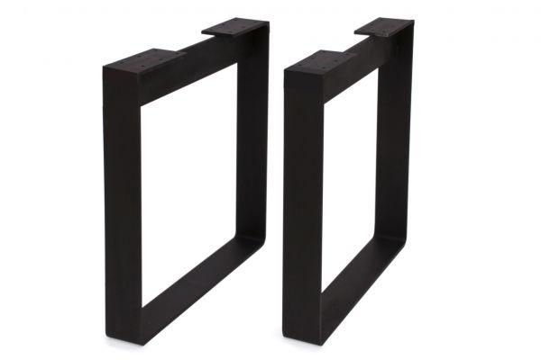 Tischbeine aus gebogenem Flachstahl für schwere Tischplatten - 2-er Set - matt schwarz lackiert