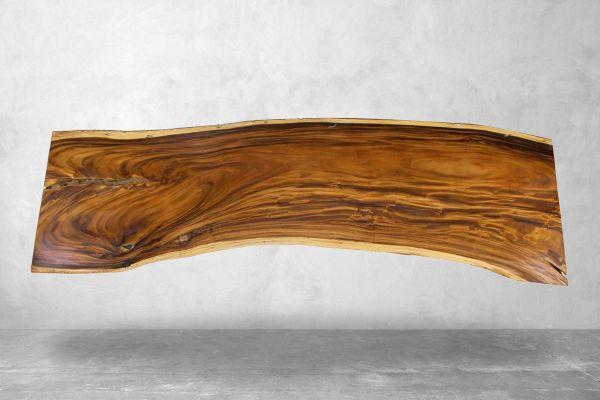 Tischplatte aus einem Baumstamm mit Naturkante - Länge 304 cm - front view1