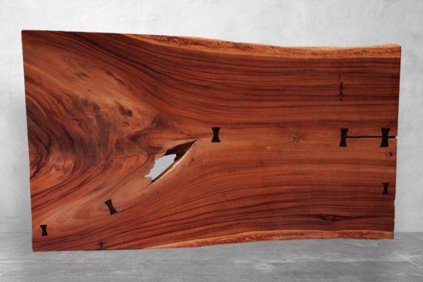 Tischplatte Baumstamm aus massivem Suarholz - Länge: 201 cm - front view1