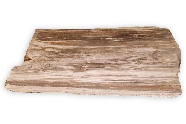Versteinertes Holz Tischplatte - Sand Beige - Länge 129 cm - side view1